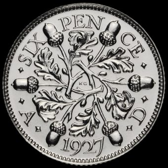 1927 George V Proof Silver Sixpence Reverse