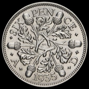 1935 George V Silver Sixpence Reverse