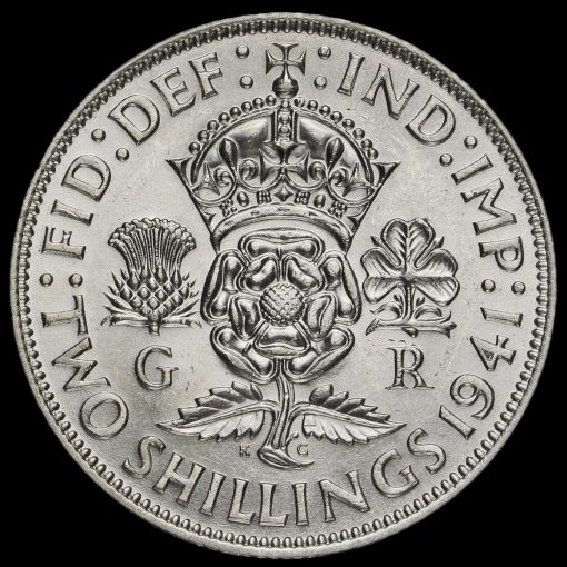 1941 George VI Silver Two Shilling Coin / Florin Reverse