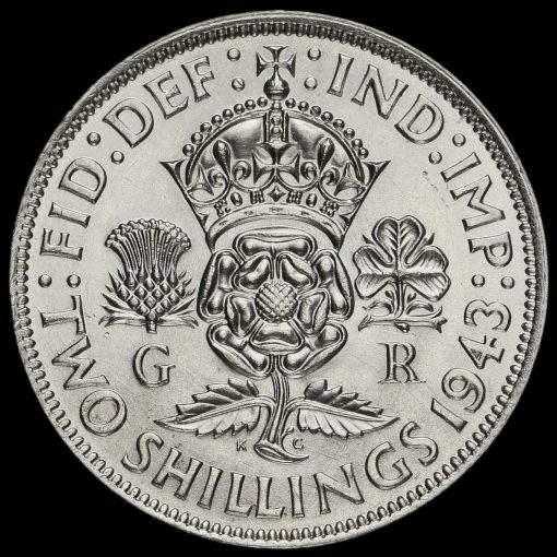 1943 George VI Silver Two Shilling Coin / Florin Reverse