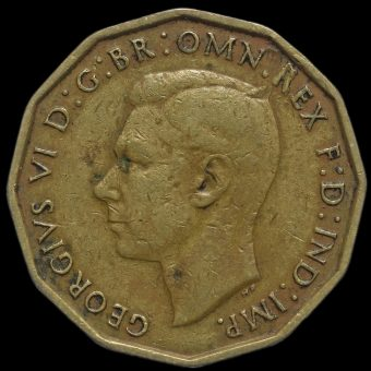 1946 George VI Brass Threepence Obverse