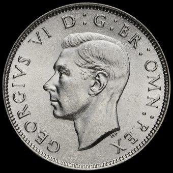 1945 George VI Silver Two Shilling Coin / Florin Obverse
