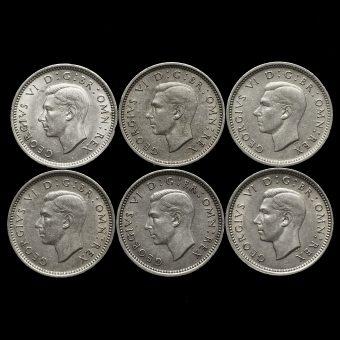 6 x George VI Silver Threepences Obverses