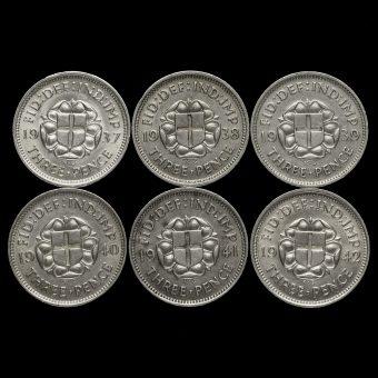 6 x George VI Silver Threepences Reverses