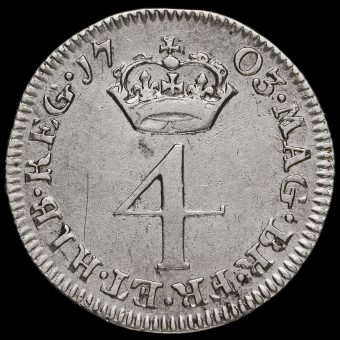 1703 Queen Anne Early Milled Silver Maundy Fourpence Reverse