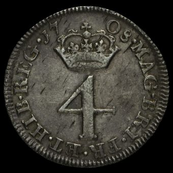 1708 Queen Anne Early Milled Silver Maundy Fourpence Reverse