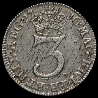 1710 Queen Anne Early Milled Silver Maundy Threepence Reverse