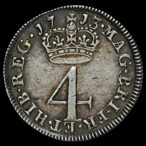 1713 Queen Anne Early Milled Silver Maundy Fourpence Reverse