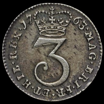 1763 George III Early Milled Silver Threepence Reverse