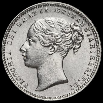 1868 Queen Victoria Young Head Silver Shilling Obverse
