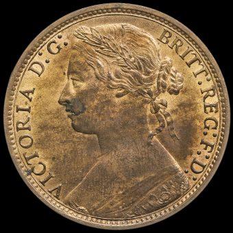 1877 Queen Victoria Bun Head Penny Obverse