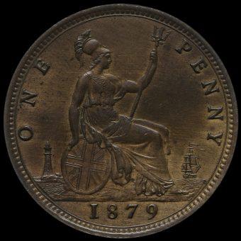1879 Queen Victoria Bun Head Penny Reverse