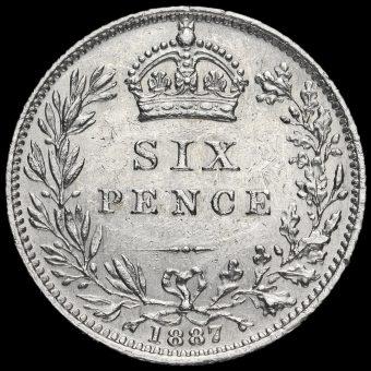1887 Queen VictoriaJubilee Head Silver Wreath Sixpence Reverse