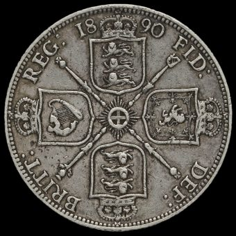 1890 Queen Victoria Jubilee Head Silver Florin Reverse