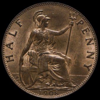1908 Edward VII Halfpenny Reverse