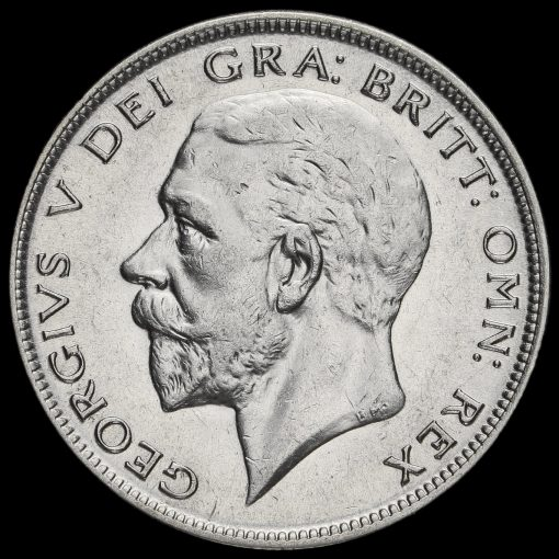 1929 George V Silver Half Crown Obverse