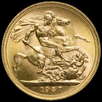 1957 Elizabeth II Gold Full Sovereign Reverse