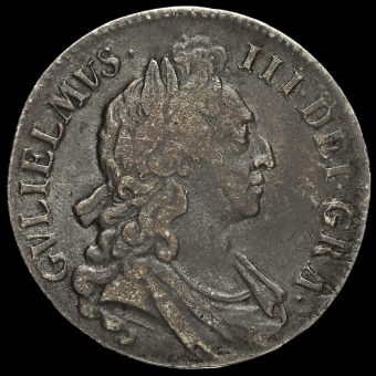 1696 William III Early Milled Silver Octavo Crown Obverse