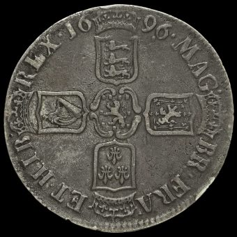 1696 William III Early Milled Silver Octavo Crown Reverse