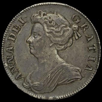 1709 Queen Anne Early Milled Silver Octavo Half Crown Obverse