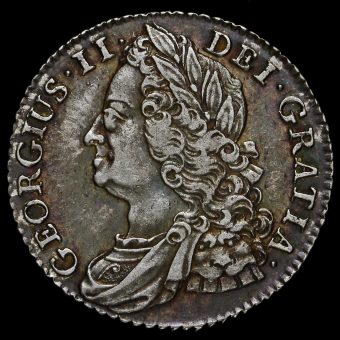 1745/3 George II Early Milled Silver Shilling Obverse