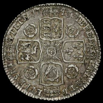 1745/3 George II Early Milled Silver Shilling Reverse