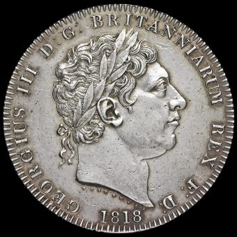 1818 George III Milled Silver LVIII Crown Obverse