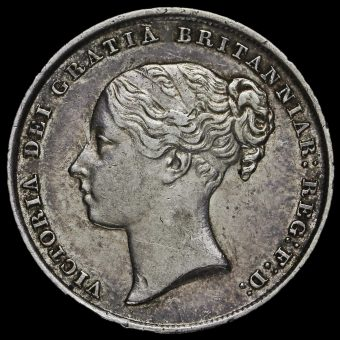 1844 Queen Victoria Young Head Silver Shilling Obverse