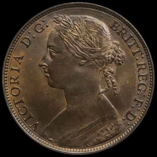 1882 H Queen Victoria Bun Head Penny Obverse