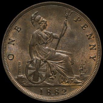1882 H Queen Victoria Bun Head Penny Reverse