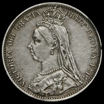 1887 VictoriaJubilee Head Silver Sixpence Obverse