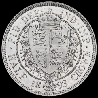 1893 Queen Victoria Veiled Head Silver Half Crown Reverse