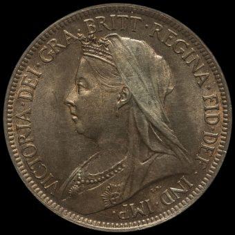 1897 Queen Victoria Veiled Head Halfpenny Obverse