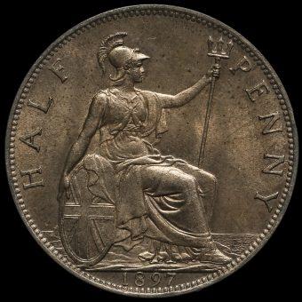 1897 Queen Victoria Veiled Head Halfpenny Reverse