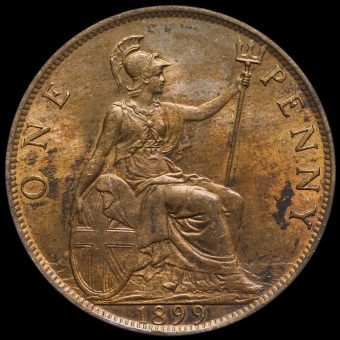1899 Queen Victoria Veiled Head Penny Reverse