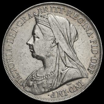 1900 Queen Victoria Veiled Head LXIII Silver Crown Obverse