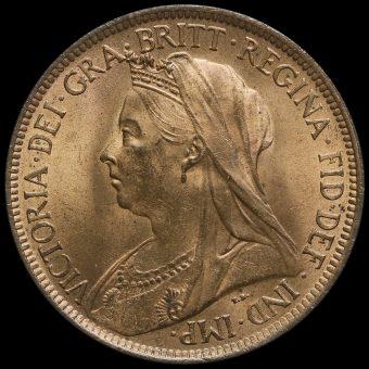 1900 Queen Victoria Veiled Head Halfpenny Obverse