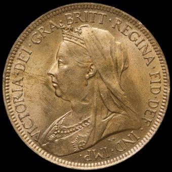 1901 Queen Victoria Veiled Head Halfpenny Obverse