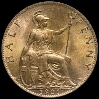 1901 Queen Victoria Veiled Head Halfpenny Reverse