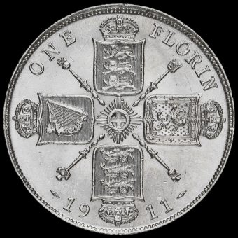1911 George V Silver Florin Reverse