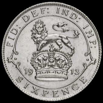 1913 George V Silver Sixpence Reverse