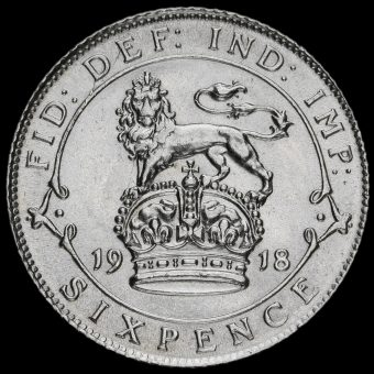 1918 George V Silver Sixpence Reverse
