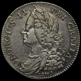 1745 George II Early Milled Silver Lima Half Crown Obverse