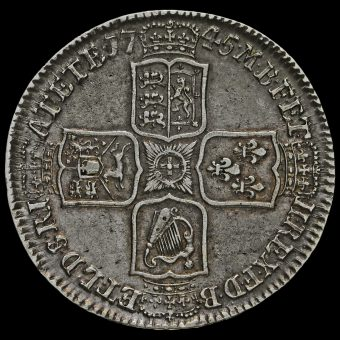 1745 George II Early Milled Silver Lima Half Crown Reverse