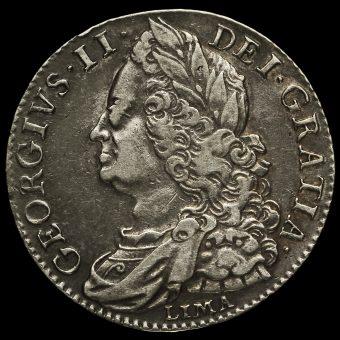 1746 George II Early Milled SilverLima Half Crown Obverse