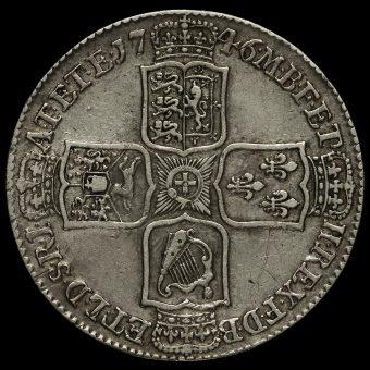 1746 George II Early Milled SilverLima Half Crown Reverse