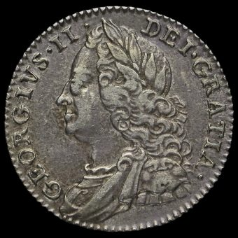 1758 George II Early Milled Sixpence Obverse
