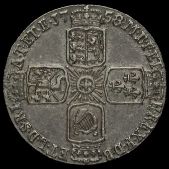 1758 George II Early Milled Sixpence Reverse