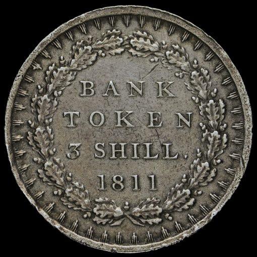 1811 George III Silver Three Shillings Bank Token Reverse