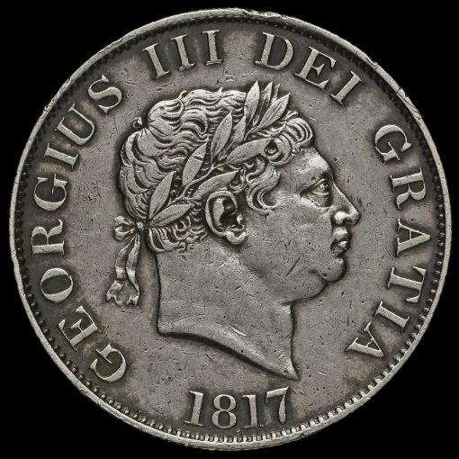 1817 George III Milled Silver Small Head Half Crown Obverse